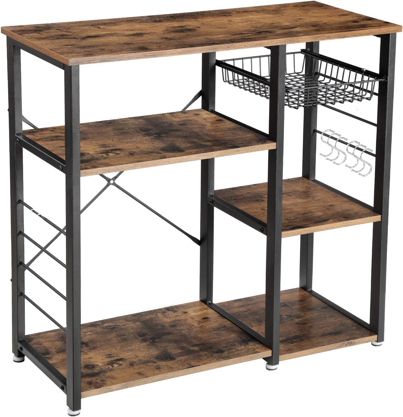 VASAGLE Industrial Kitchen Baker's Rack, Coffee Bar, Microwave Oven Stand Metal Frame, Wire Basket 6 Hooks Mini Oven, Spices Utensils, Simple Assembly Wood Look - Standing Baker's Racks