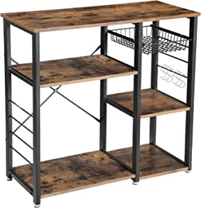 "VASAGLE ALINRU Kitchen Baker's Rack, Coffee Bar with Wire Basket, 6 Hooks, 33""H, Rustic Brown"
