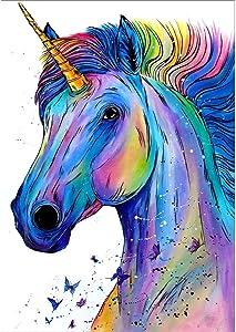 3ABOY DIY Paint Kit,Diamond Painting Kits for Adults,Animal Cartoon Diamond Art Kits for Kids for Office Study, Living Room and Bedroom Wall Decor(Colorful Unicorns 15.7X11.8 Inch)