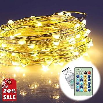 LED Lichterkette, ougilay 33 ft 100 LED Wasserdicht Warm Weiß Kupfer ...