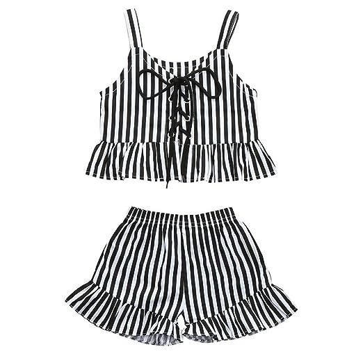0b7d13584 Amazon.com  Toddler Infant Girls Clothes Summer White Black Stripe ...