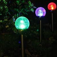 2 X Lampes Solaires Jardin à Verre Façon Craquelé Boules Lumineuses avec LED changements de Couleur pour Décorative Votre Jardin, Terrasse , Balcon par NORDSD