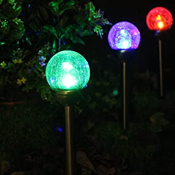 2 X Lampes Solaires Jardin à Verre Façon Craquelé Boules Lumineuses ...