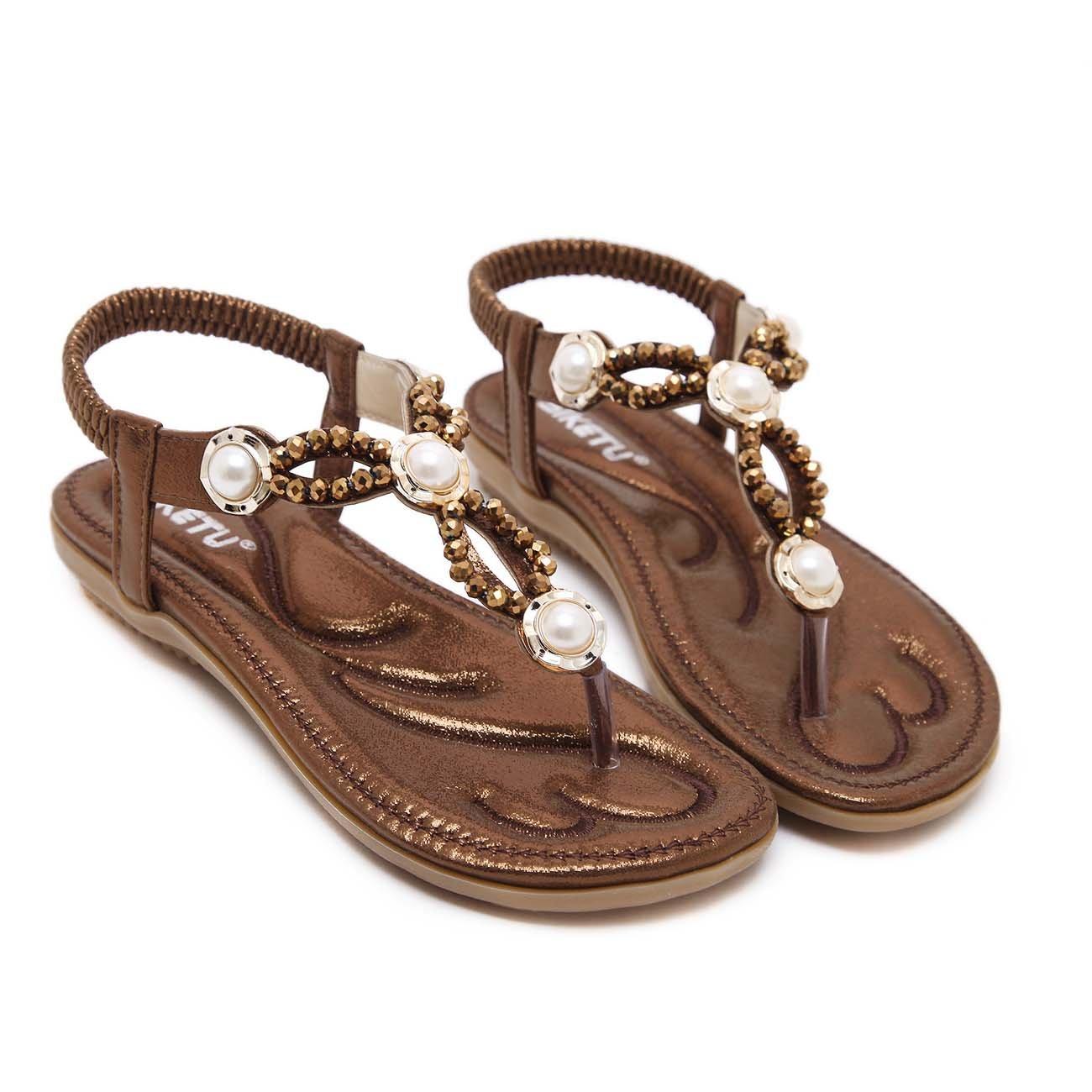GONGFF Zapatos De Mujer De Gran Tamaño Sandalias De Playa Diarias Cómodas Zapatillas De Zapatos Individuales Perlas De Diamantes De Imitación Zapatos Planos Zapatos De Gran Tamaño