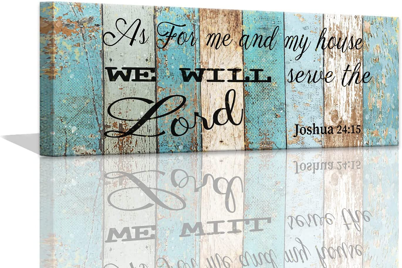 As for Me And My House We Will Serve The Lord Wall Decor Rustic Religious House Decor Wood Grain Background Christian Wall Art Bible Verse Wall Decor Inspirational Quotes Framed Wall Art 6x17inch