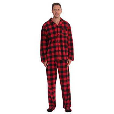 #followme Family Pajamas Buffalo Plaid Button-Front Microfleece Pajamas Set with Matching Socks at Amazon Men's Clothing store