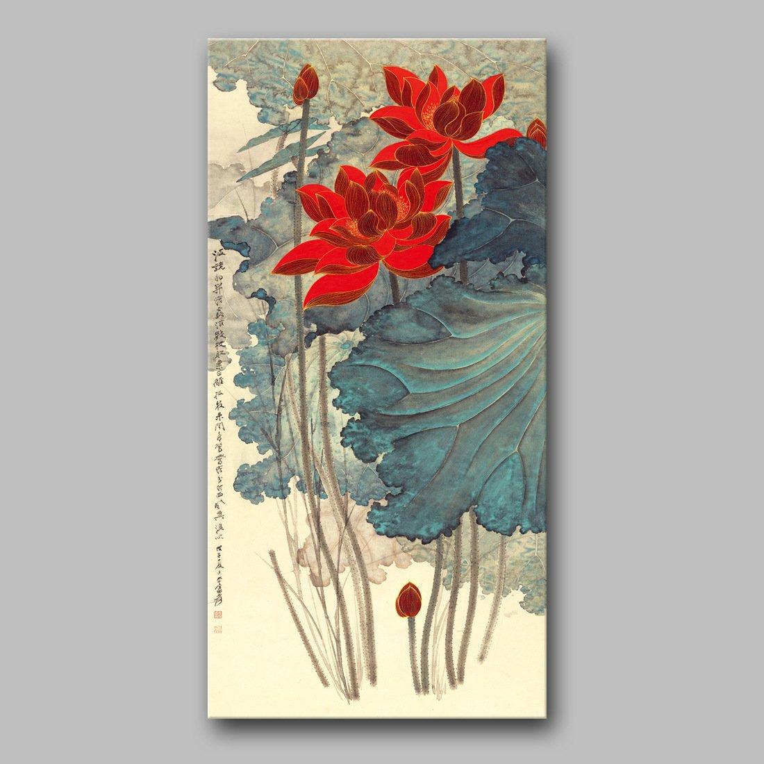 Sykdybz 現代的な中国絵画蓮の 3 つのオンライン店舗への書き込みや、当ホテルは、 40 X 80 Cm で装飾され、 B07D5WWR1K A A