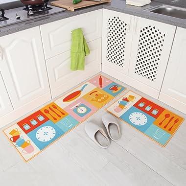 Carvapet 2 Piece Non-Slip Kitchen Mat Rubber Backing Doormat Runner Rug Set, Cartoon Kitchen Design (Multi 15 x47 +15 x23 )