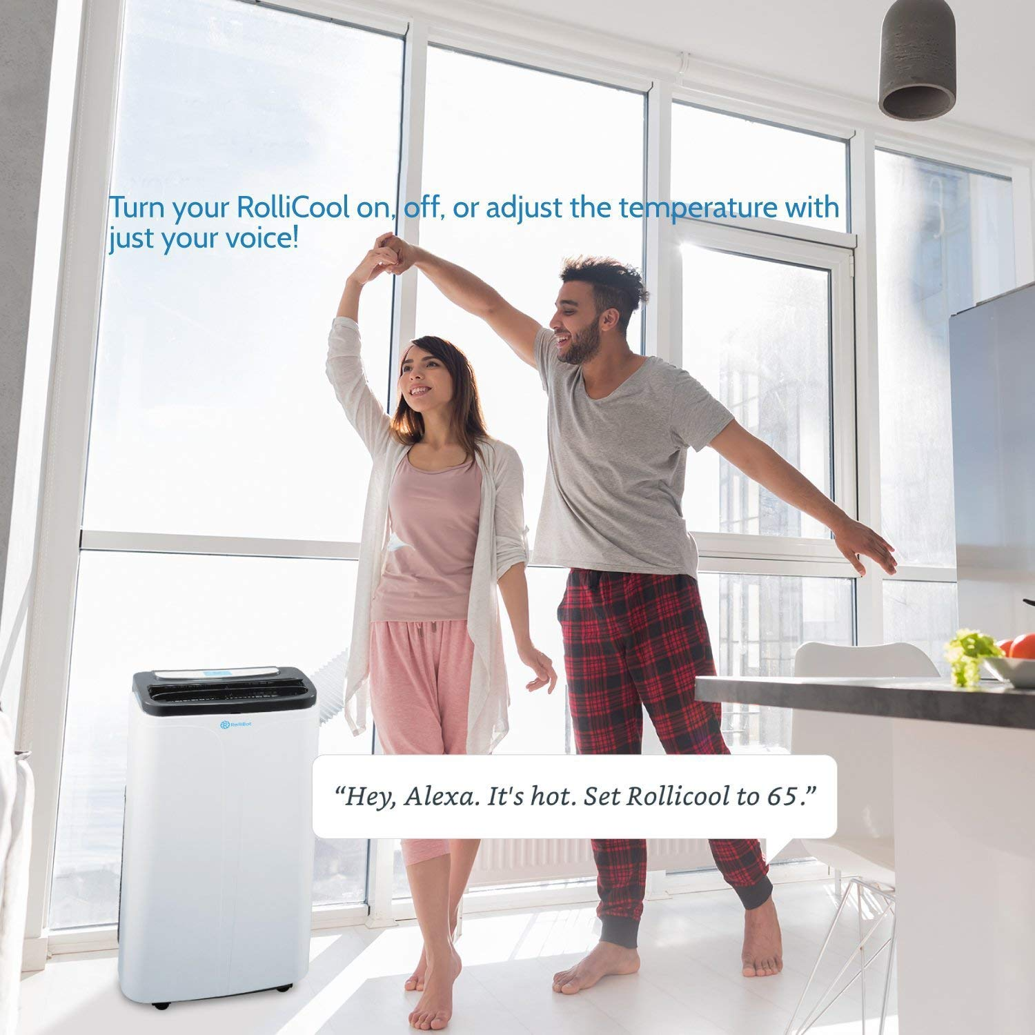 RolliCool Alexa-Enabled Portable Air Conditioner 14,000 BTU AC Unit with Heater, Dehumidifier, Fan, Mobile App COOL100H