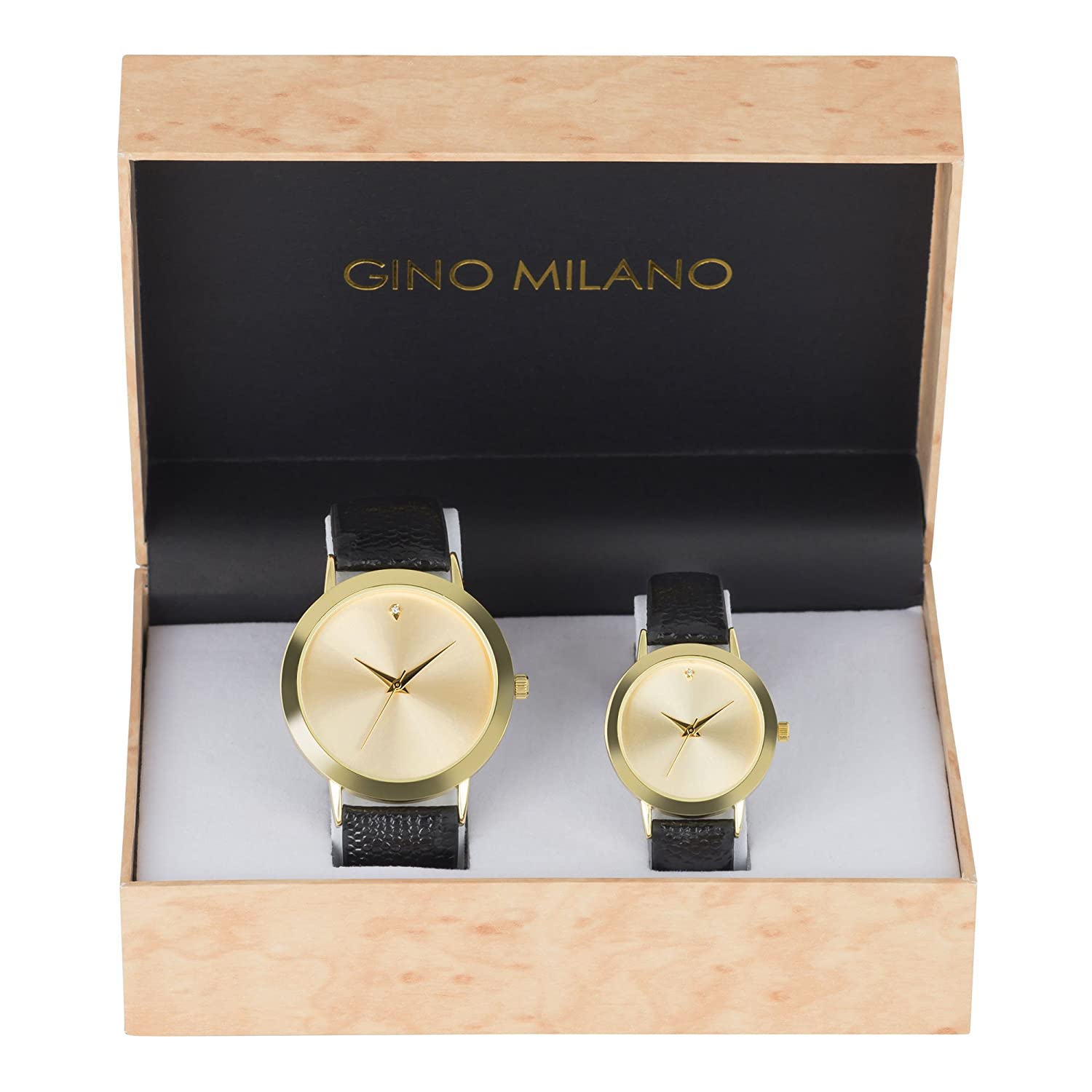 b2d1185b3483 Amazon.com  His and Her Watch Sets - 2 Piece Matching Gift Set by Gino  Milano with Gift Box 4904  Watches