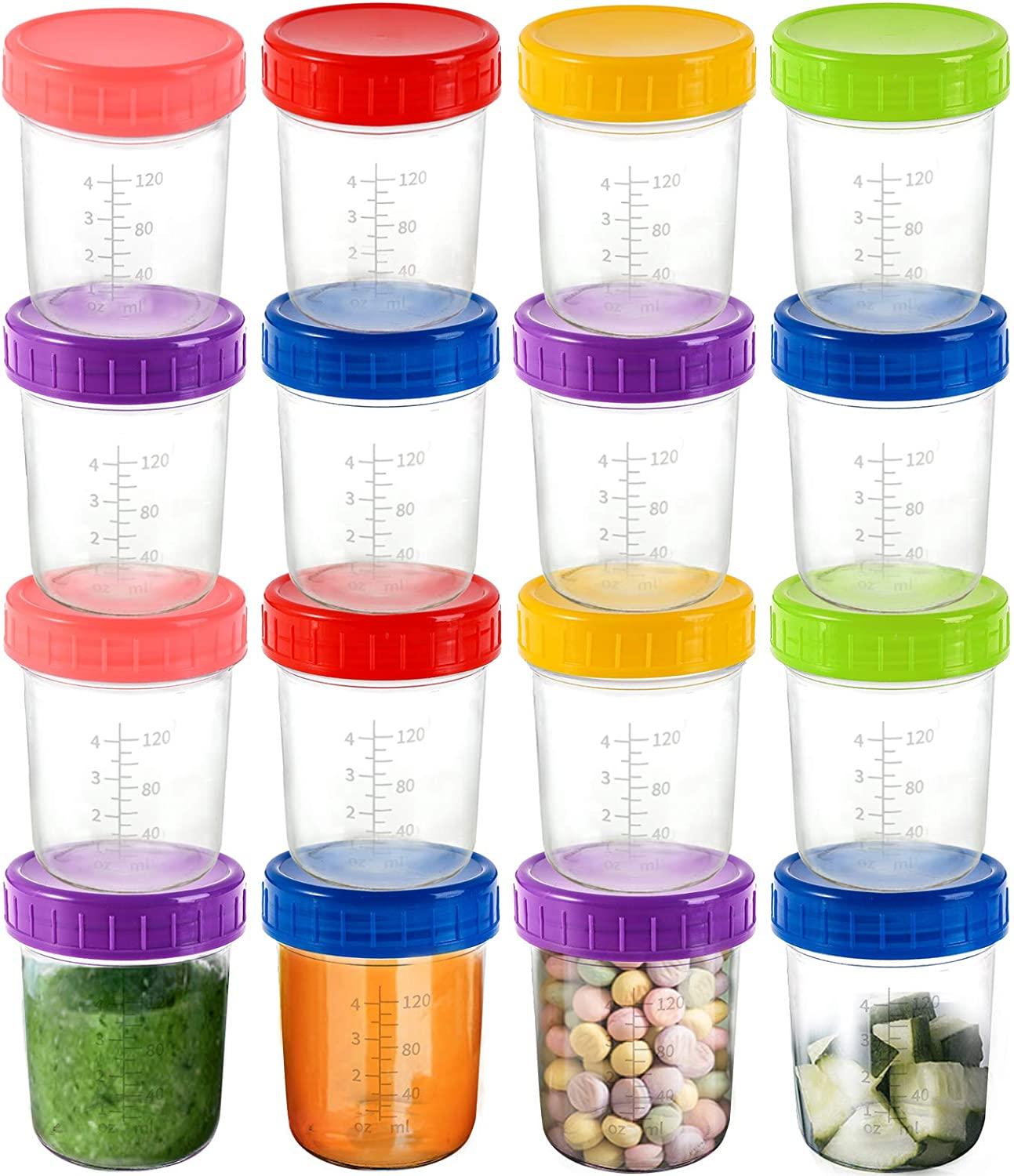 Jucoan 16 Pack Glass Baby Food Storage Jar, 6 Ounce Small Glass Jars, BPA Free Reusable Baby Food Containers with Colorful Lids & Marker, Leakproof, Microwave & Dishwasher Safe