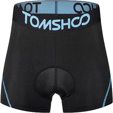TOMSHOO Pantalones Interiores Ciclismo de Hombres Pantalones Cortos Rspirables y Ligeros con 3D Gel Acolchado