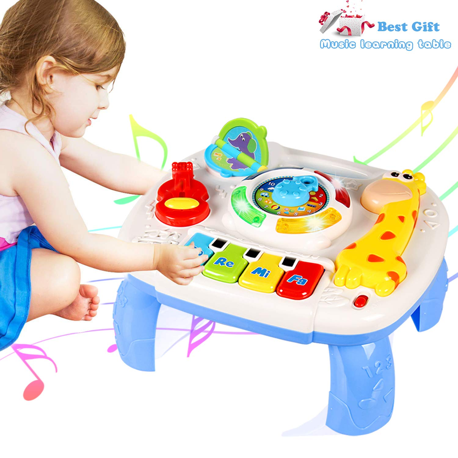 HOMOFY Baby Toys for 6-12 Month Baby Musical Learning Activity Table ,Built-in Animal Sounds, Music & Light Function,Early Development Baby Pull Toy for 1 2 3 Year Old Best Gift for Boys and Girls by HOMOFY (Image #1)