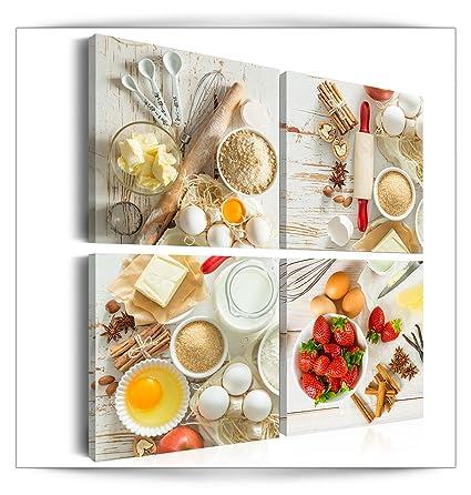 decomonkey Bilder Küche 80x80 cm 4 Teilig Leinwandbilder Bild auf Leinwand  Vlies Wandbild Kunstdruck Wanddeko Wand Wohnzimmer Wanddekoration Deko ...