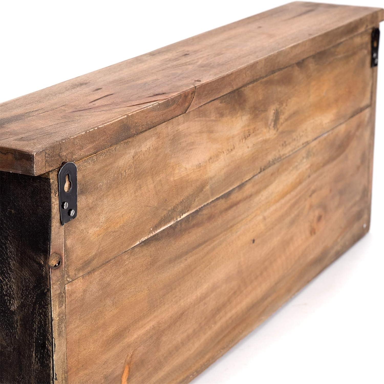 Stile Rustico Stile Vintage 70 x 27 x 11 cm L x A x P DESIGN DELIGHTS L/üllmann Appendiabiti da Parete in Legno Riciclato