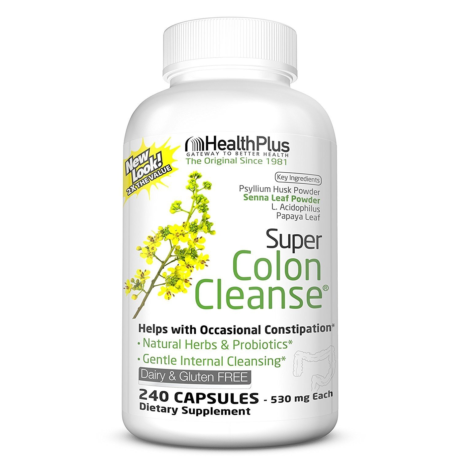 Health Plus Inc Super Colon Cleanse 530 mg 240 Capsules by Health Plus