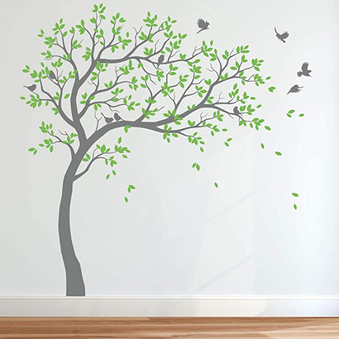 Set of Two Removable Tree vinyl wall decals with birds stickers mural-NT005