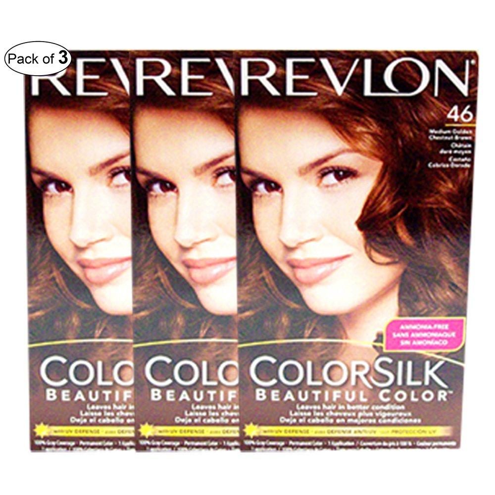 Revlon Hair Color Medium Golden Chestnut Brown(46) (Pack of 3)