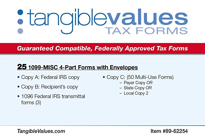 Amazon Tangible Values 1099 Misc Laser Forms 4 Part Kit With