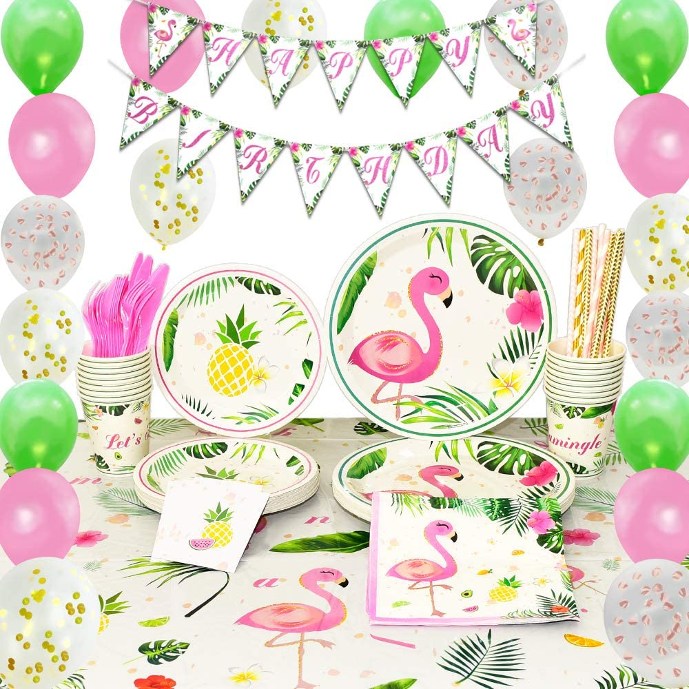 WERNNSAI Flamingo Party Supplies Set - Tropical Party Decorations for Girls  Kids Birthday Banner Balloons Cutlery Bag Table Cover Plates Cups Napkins