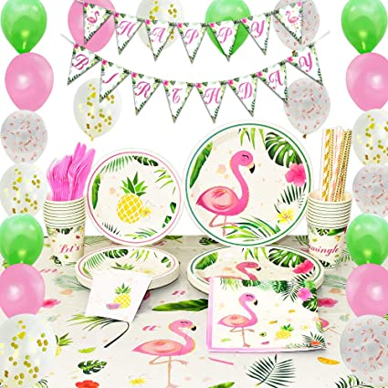 Amazon.com: WERNNSAI Flamingo Party Supplies Set – 169 ...