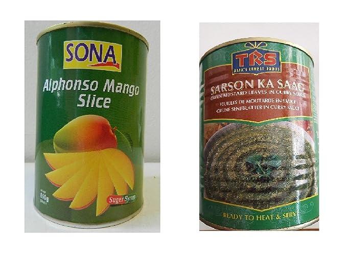 Sona Alphonso Mango Slice rodajas de mango & TRS Sarsoon Ka Saag hojas de mostaza verdes
