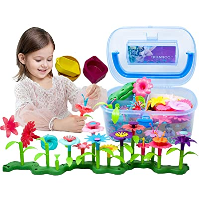 BIRANCO. Flower Garden Building Toys - Build a Bouquet Floral Arrangement Playset for Toddlers and Kids Age 3, 4, 5, 6 Year Old Girls Pretend Gardening Gifts (120 PCS): Toys & Games