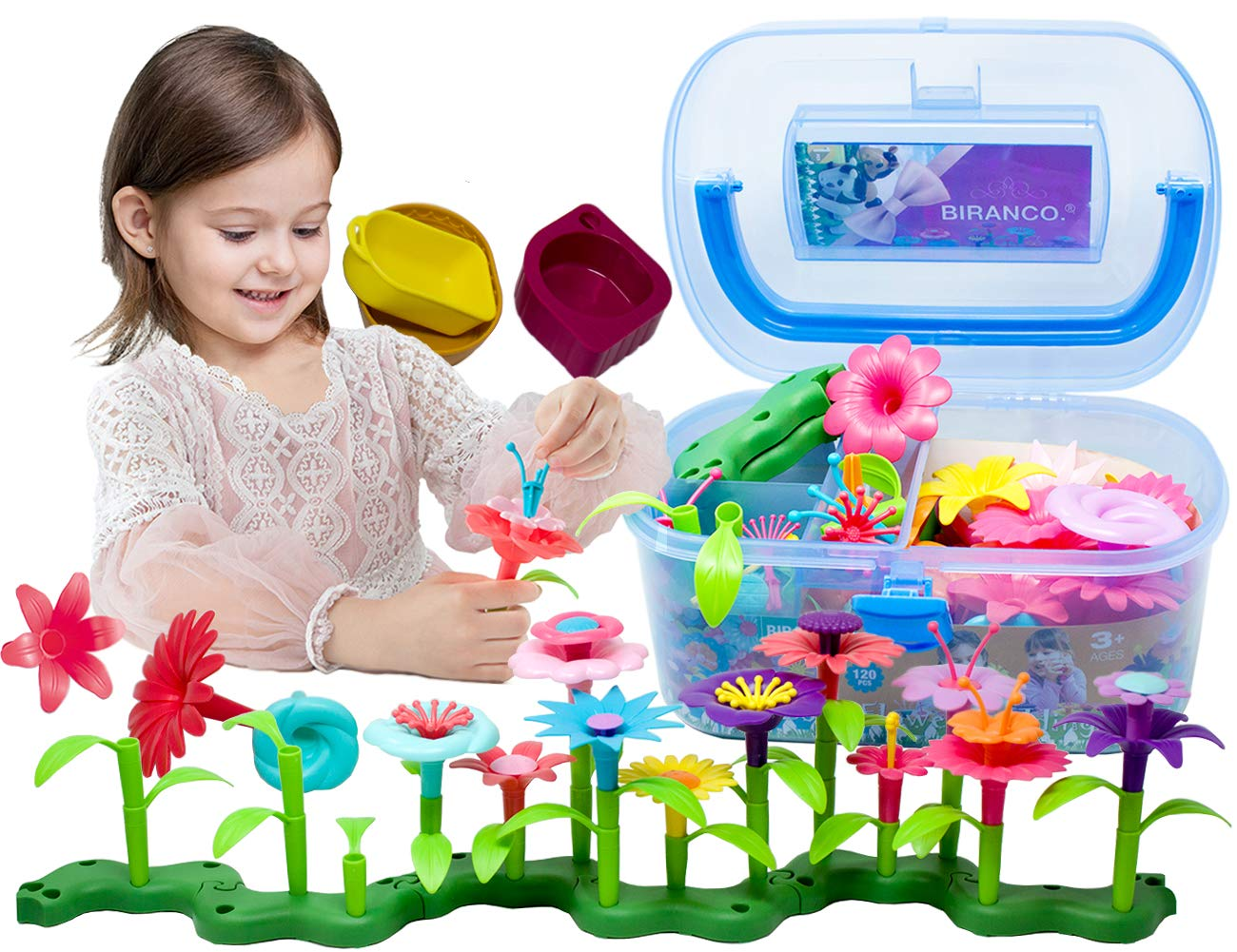 BIRANCO. Flower Garden Building Toys - Build a Bouquet Floral Arrangement Playset for Toddlers and Kids Age 3, 4, 5, 6 Year Old Girls Pretend Gardening Gifts (120 PCS) by BIRANCO.