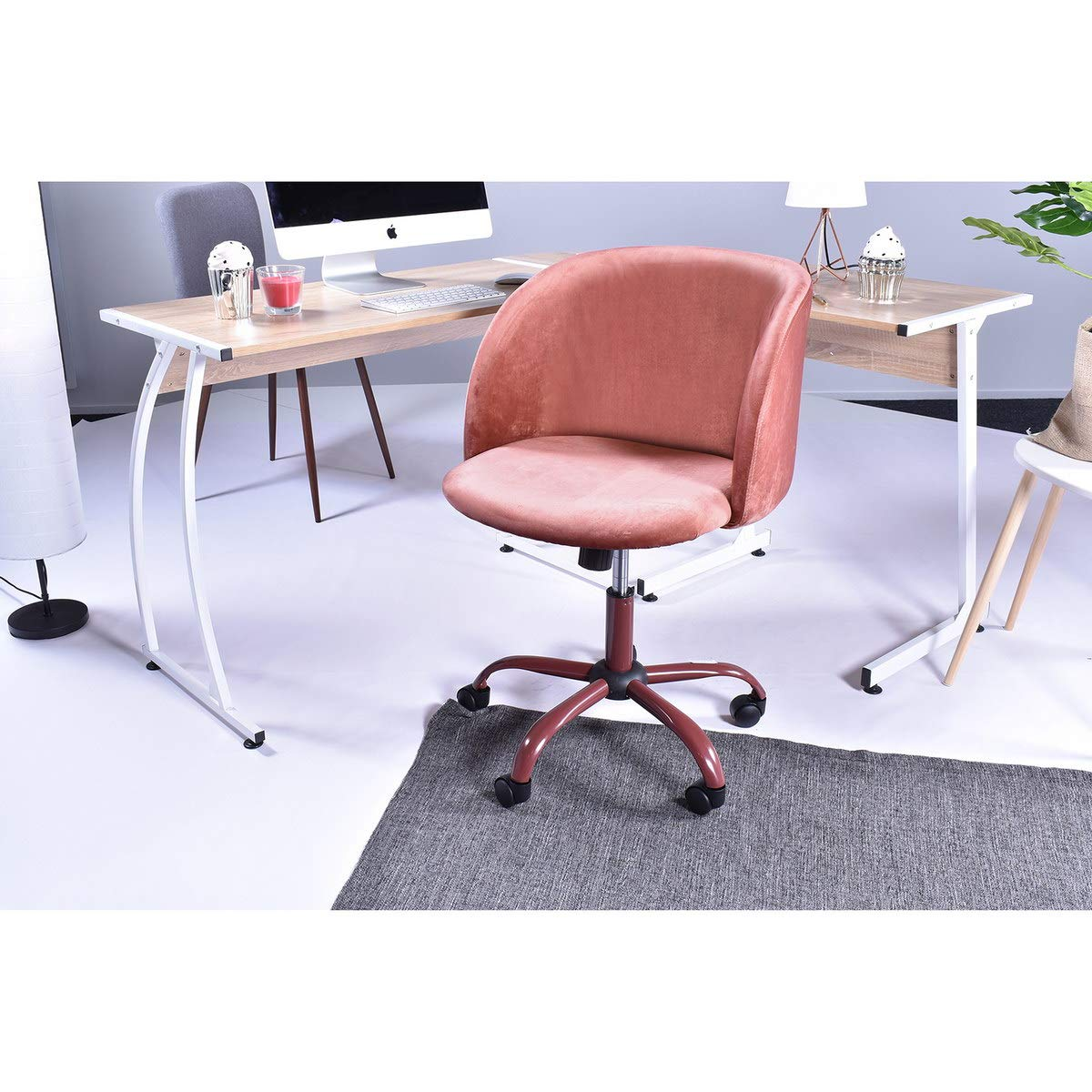 Eggree Mid Back Swivel Computer Desk Chair Ergonomic Home Office Task Chair Executive Chairs With Velvet Seat Armrest Accent Furniture Rose Pink Buy Online In El Salvador Eggree Products In El