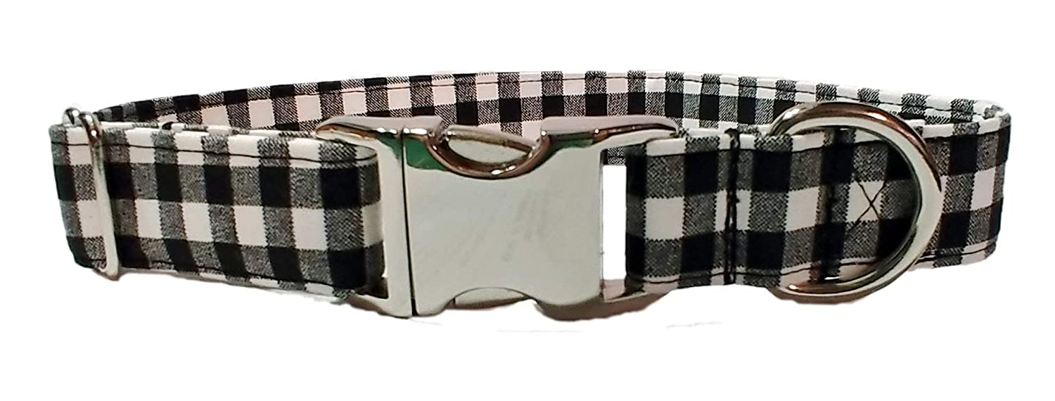Black gingham check Metal Buckle White Buffalo Plaid Dog Collar Holiday puppy Handmade by Britches4Stitches cotton Fabric Adjustable Chrome Hardware