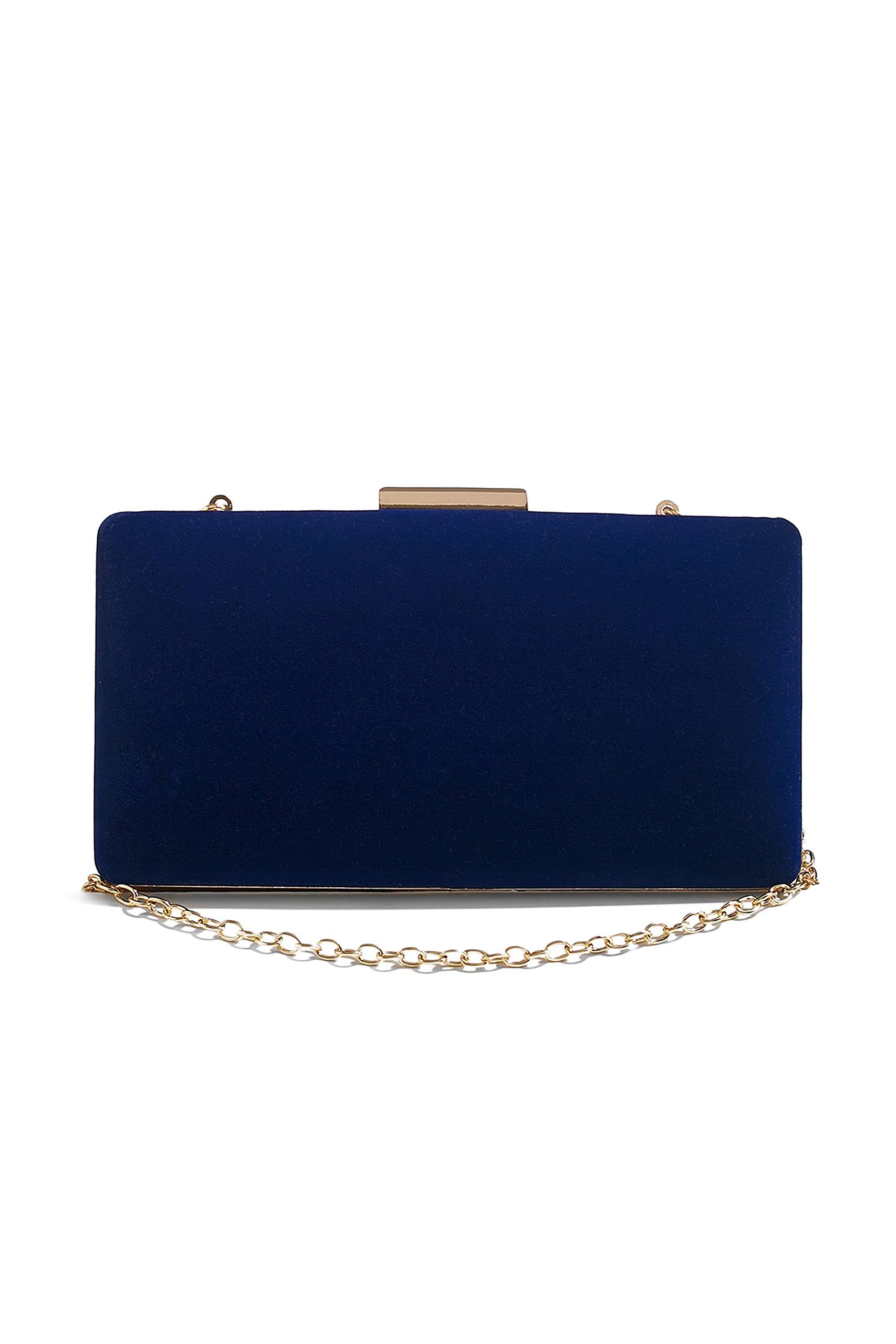 Women Velvet Clutch Purse Evening Bag Hard Box Vintage Handbag With Chain Strap (oxford blue)