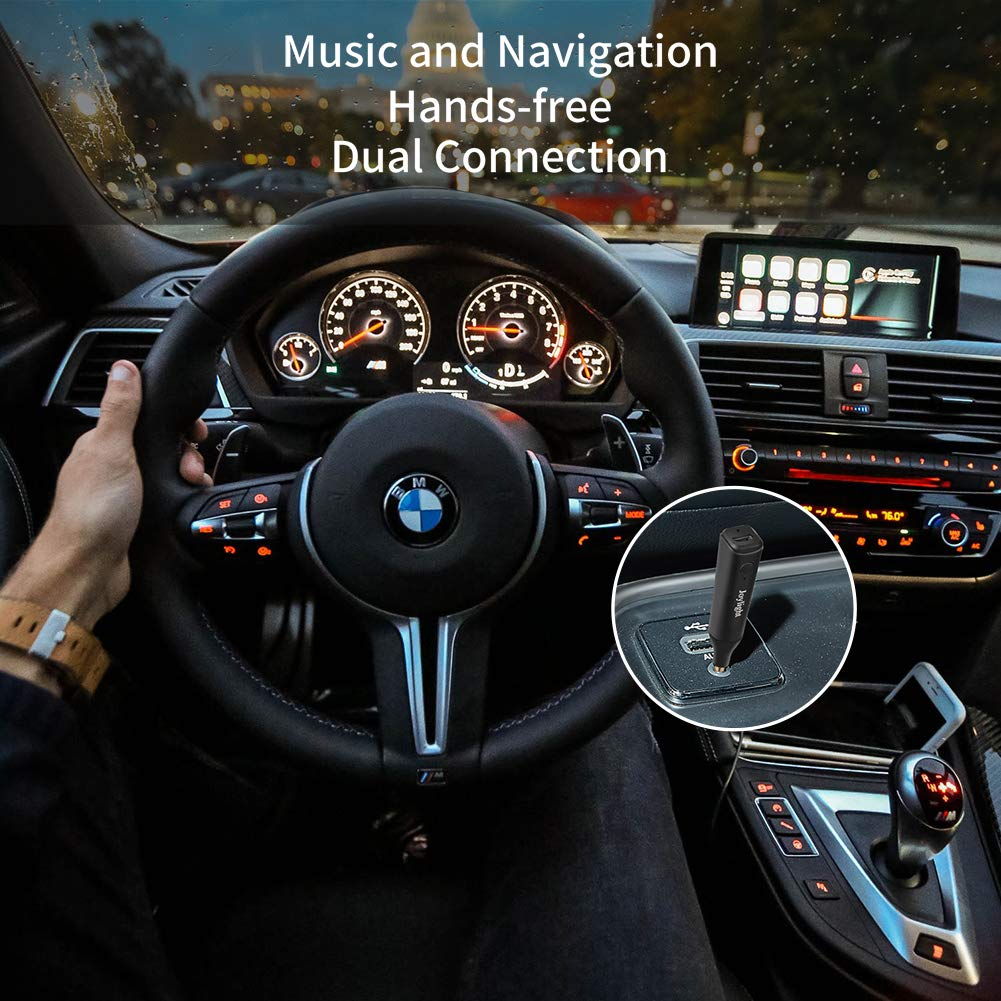 Joylight Hands Free Long Range Dual Link Bluetooth 5.0 Receiver for Home and Car Audio Music Streaming Sound System Bluetooth Aux Adapter