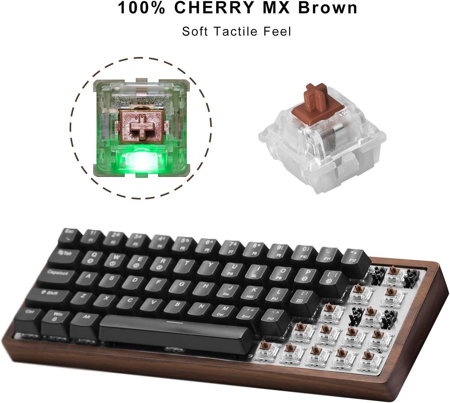 CENNBIE 60% Mini Teclado mecánico para Juegos - Retroiluminación LED RGB - Interruptores Brown MX de Cerezo - Intercambio de Bricolaje en Caliente - ...