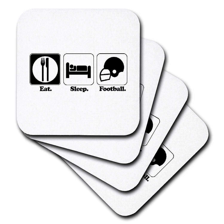 Set of 4 3dRose cst/_116957/_3 Funny Hobby Lifestyle Design Eat Sleep Football-Ceramic Tile Coasters