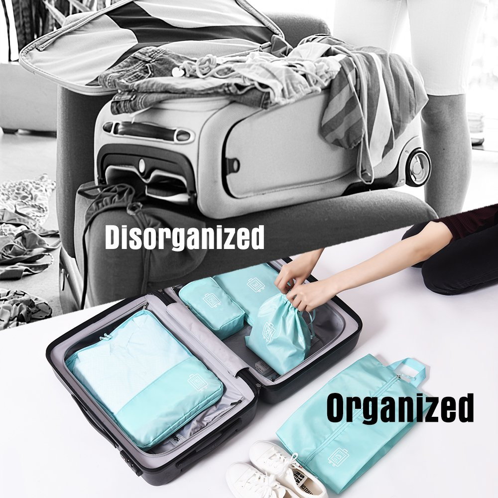 Amazon.com | Funria 5 Set Compressible Packing Cubes Lightweight Waterproof Travel Luggage Organizer Durable Suitcase Organizers with 2 Zippers (Navy Blue) ...