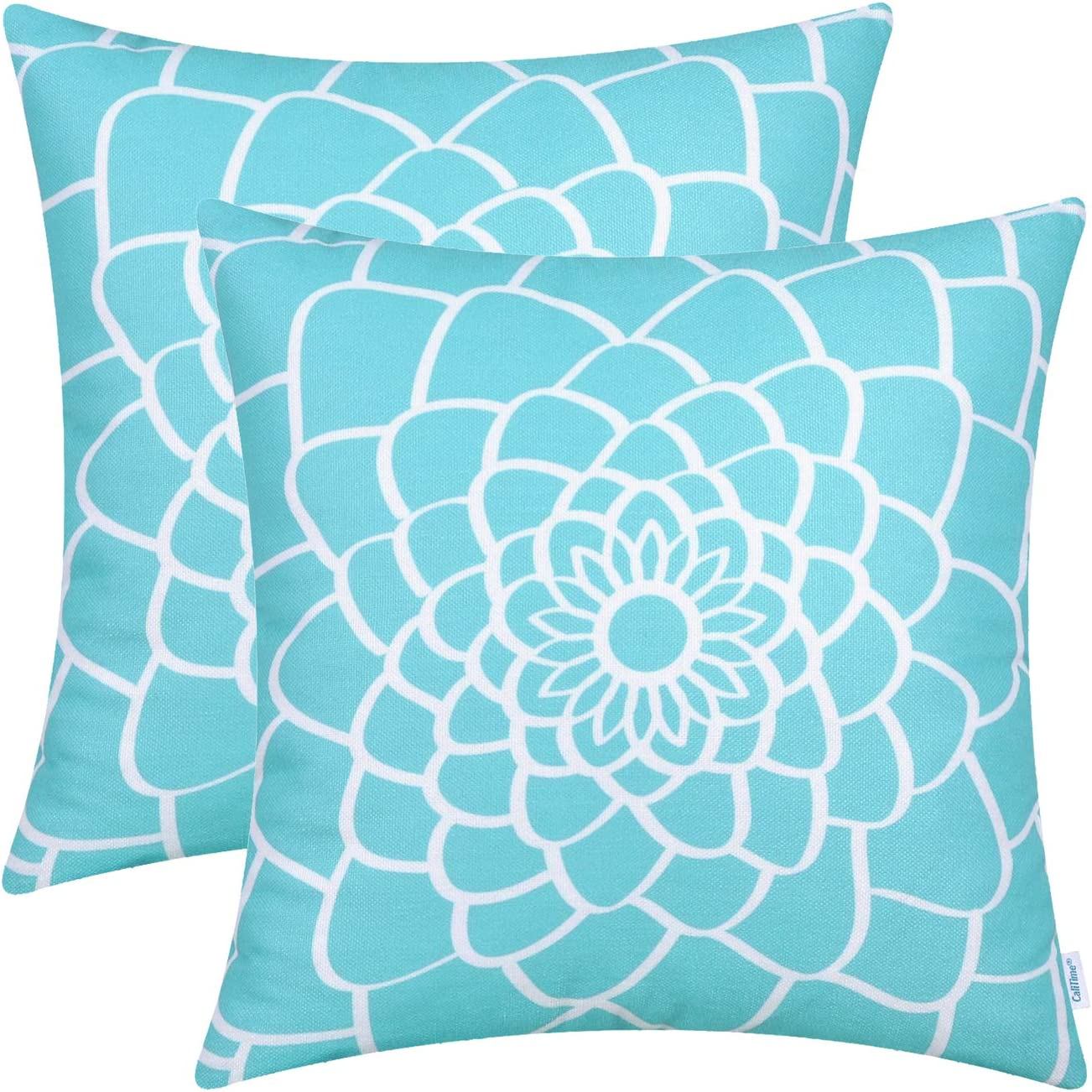 CaliTime Pack of 2 Soft Canvas Throw Pillow Covers Cases for Couch Sofa Home Decor Dahlia Floral Outline Both Sides Print 20 X 20 Inches Turquoise Blue