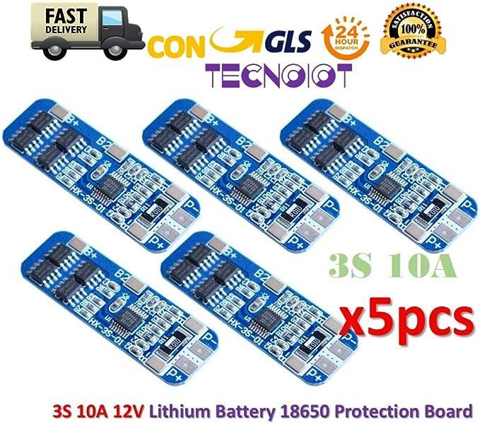 TECNOIOT 5pcs 3S 10A Li-Ion Lithium 18650 BMS PCM Battery 12V ...