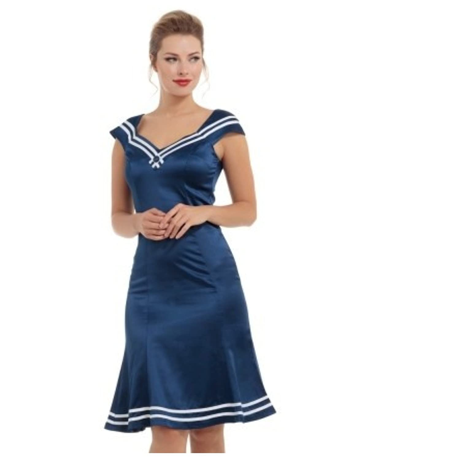 Vintage Cruise Outfits, Vacation Clothing Voodoo Vixen Isla Silk Like Nautical Dress �32.99 AT vintagedancer.com