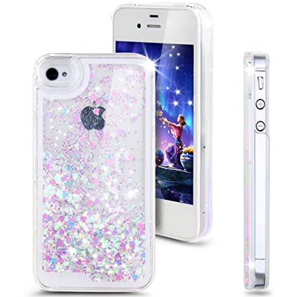 finest selection ffcb6 dfaed iPhone SE Case,iPhone 5S Case,iPhone 5 Case,ikasus Fashion Creative Design  Flowing Glitter Floating Luxury Bling Glitter Sparkle Love Heart Hard Case  ...