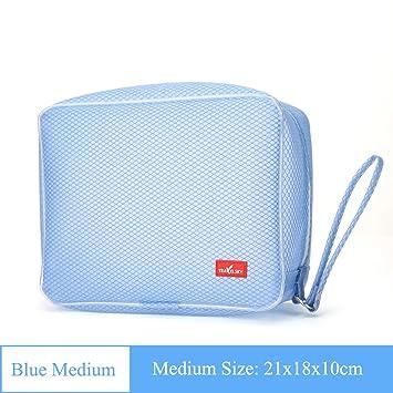 Amazon.com   Grid Cosmetic bags Large capacity But Portable Bath Waterproof  Pvc Transparent Washing bag Makeup bags travel Toiletry bag for women-blue  B ... f93fcc3b428ea