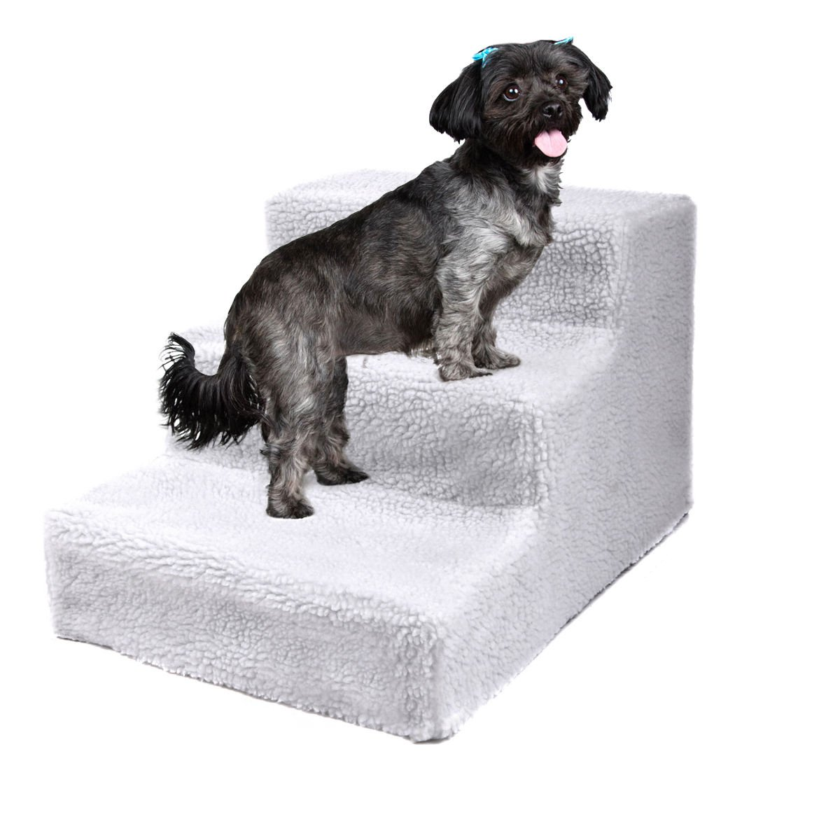 JAXPETY Animals Favorite Pet Stairs, 3 Steps Ramp Ladder for Dogs, Portable, Ladder with Cover Indoor (White)