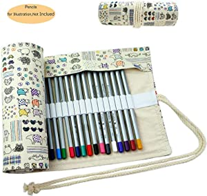 CREOOGO Colored Pencils Case Wrap Roll Holder for Artist Adult Coloring Travel Portable Canvas Storage Organizer with a Build-in Pouch Lovely Animals 72 loops