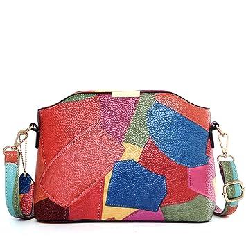 YUEER Shell-Tasche Handtaschen Mode Wild Multi-Color- Nähmuster PU ...