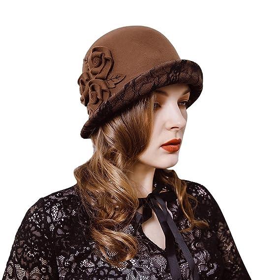 iShine Elégant Fedoras en Laine Femme Automne Hiver Chapeau à bords Relevés  avec Dentelle Vintage Bonnet 27ebf86a81a