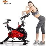 Goplus Exercise Bike Indoor Cycle Bike Stationary Trainer Bicycle with 28lbs Flywheel Cardio Adjustable Workout Bike