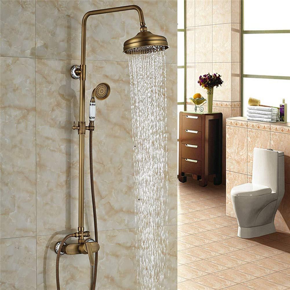 レトロなスタイルアンティークシャワー蛇口シャワー浴槽バスミキサーセット, アップルウォールマウント B07KT7N5YJ