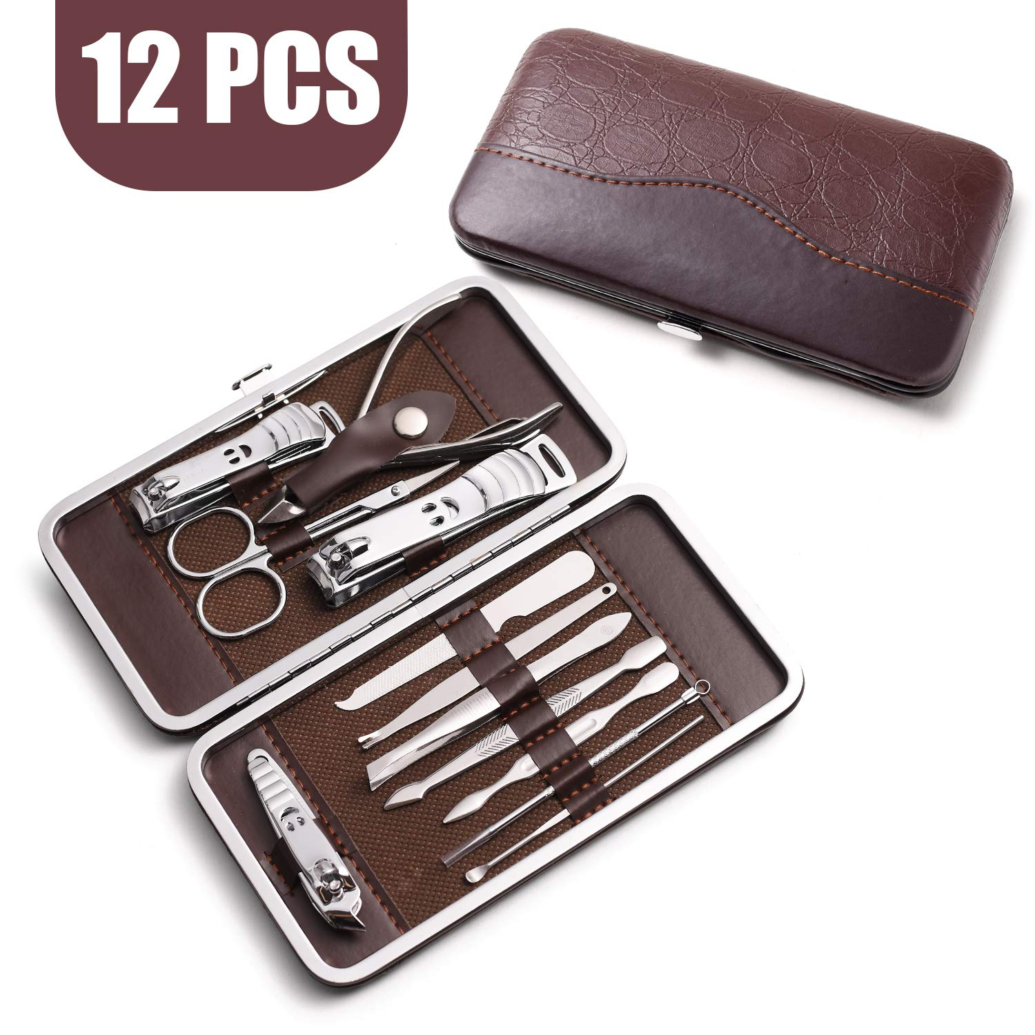 HOMEWINS Nail Clippers Sets High Precisio Stainless Steel Nail Cutter Pedicure Kit Nail File Sharp Nail Scissors and Clipper Manicure Pedicure Kit Fingernails Toenails (12 in 1)