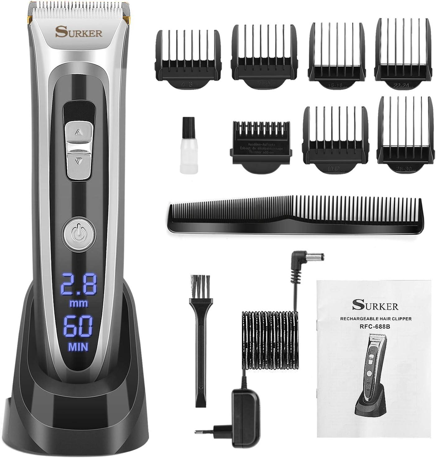 Máquina de Cortar Pelo, Recortador de Barba, Cuchillas de Cerámica, Recargable, 60 Min de uso sin Cable (Black)