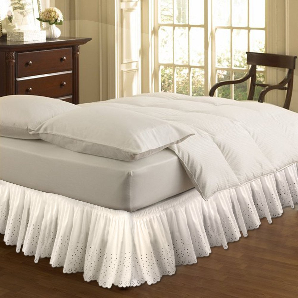 Fastar Bed Skirt,Wrap Around Style,Easy Fit Cotton Embroider Bed Wrap Ruffles Bed Skirt 15 inch Drop