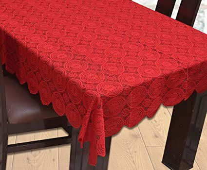 Yellow Weavestm Designer Dining Table Cover Net Fabric 60X90 Inches (Maroon)